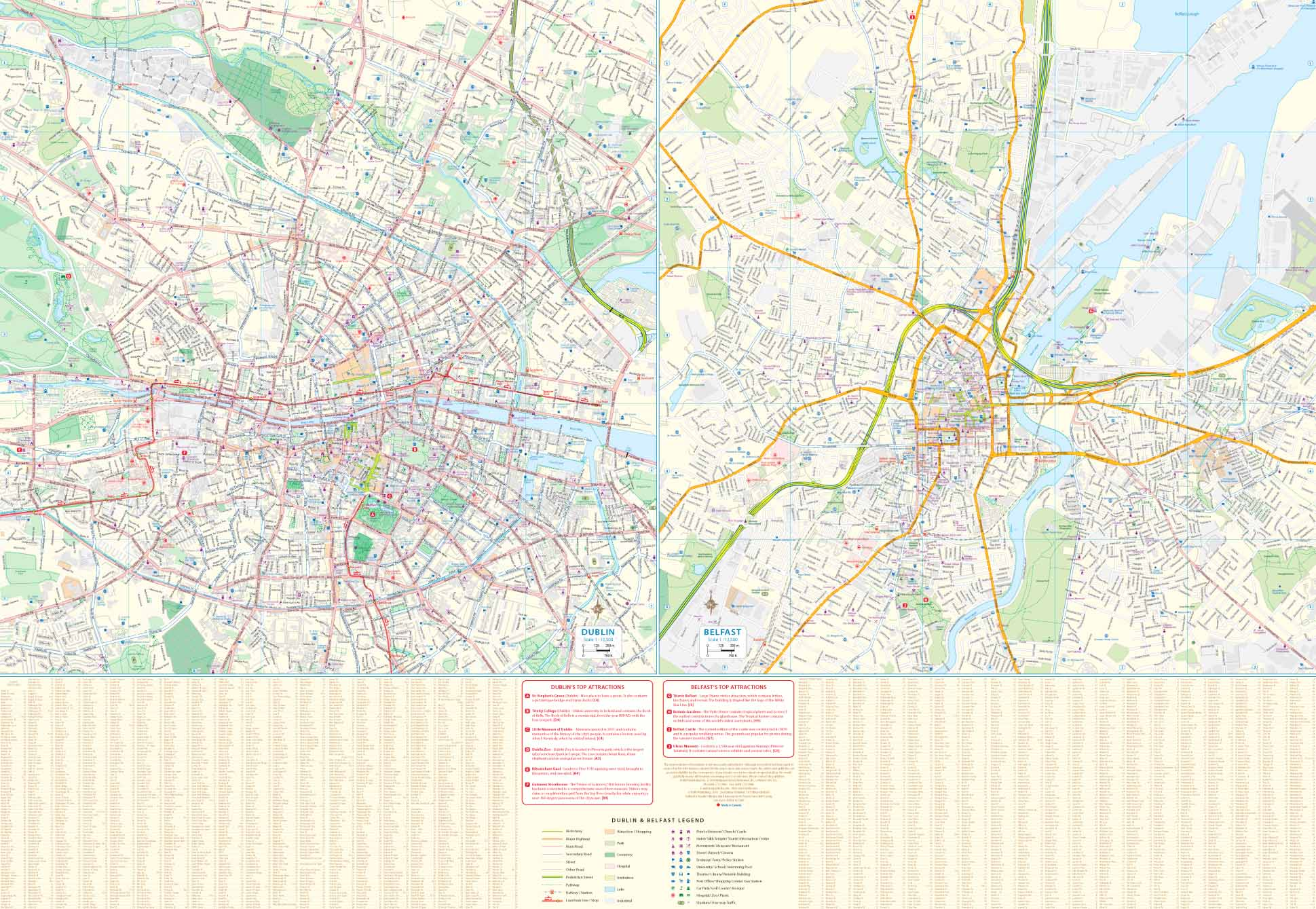 City Map Of Dublin Ireland.Ireland Including Dublin Belfast Street Map Itm Travel Map